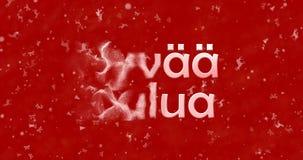 Vrolijke Kerstmistekst in Finse Hyvaa-jouluadraaien aan stof voor stock foto's