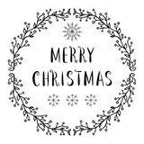 Vrolijke Kerstmistekst - het van letters voorzien ontwerp met sneeuwvlokken Stock Foto's