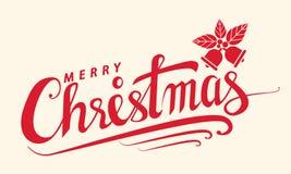 Vrolijke Kerstmistekst, het Van letters voorziende malplaatje van de ontwerpkaart, Handwritin royalty-vrije illustratie
