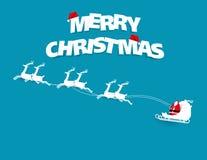 Vrolijke Kerstmistekst Kerstmankruis en rendier op blauwe backgroun vector illustratie