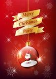 Vrolijke Kerstmistekst op gouden lint met Santa Claus in Kerstmisbal, Hangende Kerstmisbal op rode sneeuwvlokachtergrond, vector vector illustratie