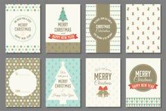 Vrolijke Kerstmistypografie en elementen Royalty-vrije Stock Afbeeldingen