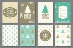 Vrolijke Kerstmistypografie en elementen Stock Fotografie