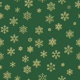 Vrolijke Kerstmisvakantie, de Gelukkige gouden decoratie van de Nieuwjaarviering, eenvoudig naadloos sneeuwvlokpatroon Groen vector illustratie