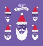 Vrolijke Kerstmisvector met santabaarden stock illustratie