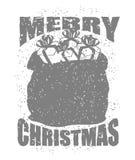 Vrolijke Kerstmiszak met giften in grungestijl Grote rode zak van Stock Afbeeldingen
