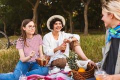 Vrolijke meisjes die op picknickdeken die gelukkig zitten spendin spreken royalty-vrije stock foto