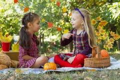 Vrolijke meisjes die pret op de herfstpicknick hebben in park Royalty-vrije Stock Afbeelding