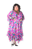 Vrolijke mens, de Koningin van de Belemmering, in een Vrouwelijk Kostuum Stock Fotografie