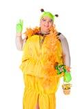 Vrolijke mens, de Koningin van de Belemmering, in een Vrouwelijk Kostuum Stock Foto