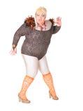 Vrolijke mens, de Koningin van de Belemmering, in een Vrouwelijk Kostuum Royalty-vrije Stock Foto's