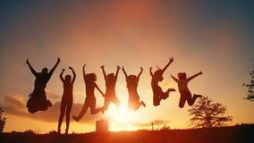 Vrolijke Mensen die bij Zonsondergang springen stock footage