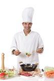 Vrolijke Nepalese mensenchef-kok, verse ingrediënten Royalty-vrije Stock Afbeelding