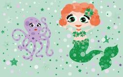 Vrolijke octopus samen meermin Stock Fotografie