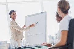 Vrolijke onderneemster die op een het groeien grafiek richten Stock Foto's