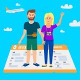 Vrolijke Paartribune op Reusachtig Vliegtuigkaartje stock illustratie