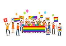 Vrolijke parade Mensen met aanplakbiljetten Seksuele revolutie of vrije liefde Vakantie, viering, festiviteiten vectorillustratie royalty-vrije illustratie
