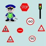 Vrolijke politieagent, verkeersteken Stock Afbeeldingen