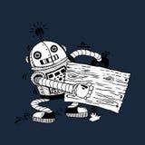 Vrolijke robot met de raad voor informatie Stock Afbeeldingen