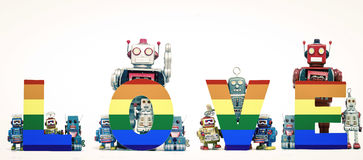 Vrolijke robots Royalty-vrije Stock Afbeelding