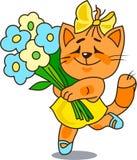 Vrolijke rode kat met een bos van bloemen Stock Afbeelding