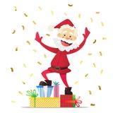 Vrolijke Santa Claus met stelt voor Uitnodiging voor een partij Kleurrijke confettien Voor pret stock foto's