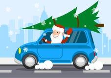 Vrolijke Santa Claus op een auto draagt giften Vector illustratie royalty-vrije illustratie
