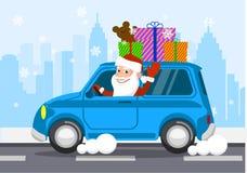 Vrolijke Santa Claus op een auto draagt giften Vector illustratie stock illustratie