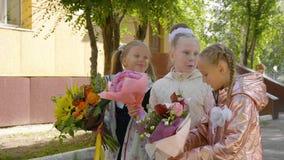 Vrolijke schoolmeisjes met bloemen die en dichtbij school zich spreken verenigen stock footage