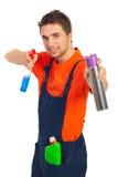 Vrolijke schoonmakende arbeidersmens Stock Afbeelding