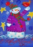 Vrolijke Sneeuwman Het schilderen Naïef art Abstract art Het schilderen gouache op papier Kinderen` s creativiteit stock illustratie