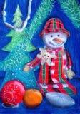 Vrolijke Sneeuwman Het schilderen Naïef art Abstract art Het schilderen gouache op papier Kinderen` s creativiteit royalty-vrije illustratie