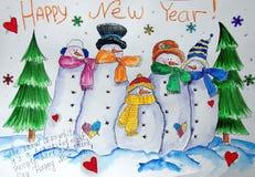 Vrolijke Snowmans Het schilderen van natte waterverf op papier Naïef art Abstract art Tekeningswaterverf op papier royalty-vrije illustratie