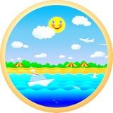 Vrolijke strand, zon, overzees en de zomer Stock Foto's