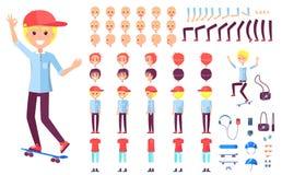 Vrolijke Tienerschaatserjongen in GLB-Aannemer royalty-vrije illustratie
