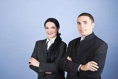 Vrolijke twee bedrijfsmensen Royalty-vrije Stock Foto's