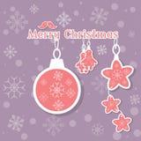 Vrolijke uitstekende de kaartachtergrond van de Kerstmisdecoratie Stock Afbeeldingen