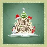 Vrolijke uitstekende het ontwerpachtergrond van Kerstmis Royalty-vrije Stock Fotografie