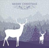 Vrolijke van de de kaartvakantie van de Kerstmiswinter de hertenachtergrond Stock Fotografie