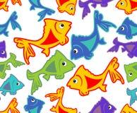 Vrolijke vectorachtergrond met levendige gekleurde vissenbeeldverhalen Stock Foto's