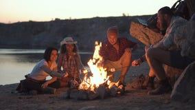 Vrolijke vrienden die rond kampvuur ontspannen stock video