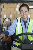 Vrolijke Vrouw die in Pakhuis werken stock foto