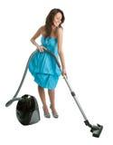 Vrolijke vrouw met handbediende stofzuiger Stock Afbeeldingen