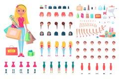 Vrolijke Vrouw op Shopping spree-Illustratie vector illustratie