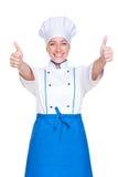 Vrolijke vrouwelijke chef-kok Royalty-vrije Stock Afbeeldingen