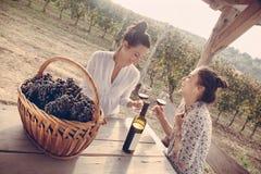 Vrolijke Vrouwelijke het Drinken twee Wijn Stock Foto's