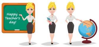 Vrolijke vrouwelijke leraarsreeks Gelukkige Leraars` s Dag vector illustratie