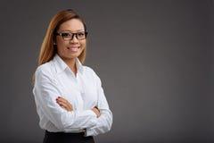 Vrolijke vrouwelijke manager stock foto
