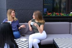 Vrolijke vrouwelijke vrienden die koffie drinken en bij koffie zitten Stock Foto