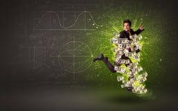 Vrolijke zakenman die met dollarbankbiljetten rond hem springen Stock Foto